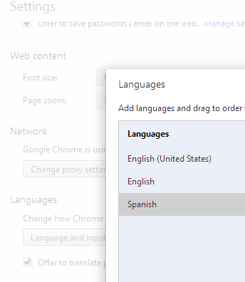 chrome language